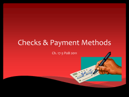Checks & Payment Methods
