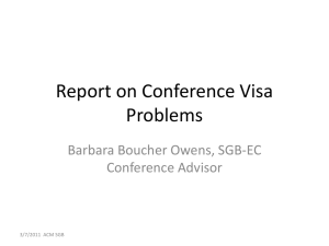 Report on Conference Visa Problems