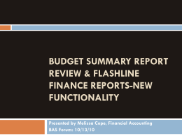 Budget summary report review & Flashline Finance Reports