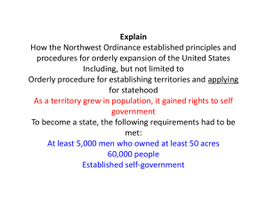 Explain How the Northwest Ordinance established principles and