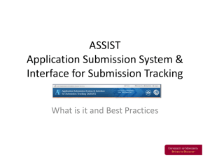 ASSIST Application Submission System & Interface for Submission