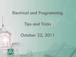 Electrical and Programming Tips and Tricks