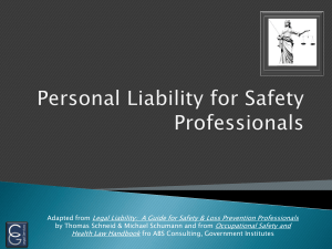 Personal Liability for Safety Professionals
