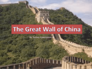 The Great Wall of China- Sydney Greenspoon