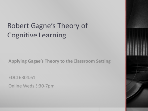 Robert Gagne*s Theory of Cognitive Learning