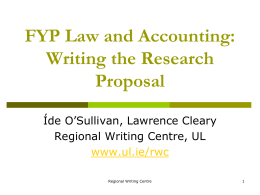 FYP Law and Accounting Writing the Research Proposal