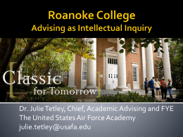 Intentional Academic Advising