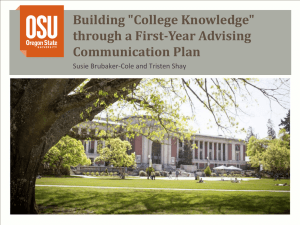 through a First-Year Advising Communication Plan