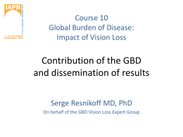 Dr Serge Resnikoff_ Contribution of the GBD and Dissemination of