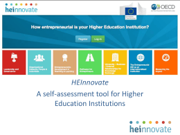 HEInnovate: A self-assessment tool for Higher Education Institutions