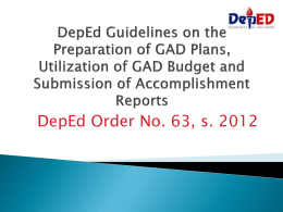 DepEd Guidelines on the Preparation of GAD Plans