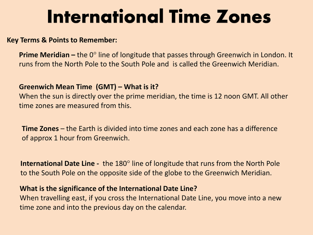 Lesson 4 International Time Zones