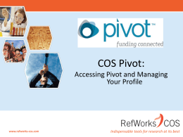 What is COS Pivot?
