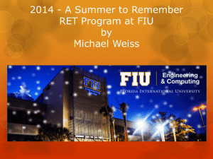 MichaelWeiss - FIU RET: Research Experience for Teachers