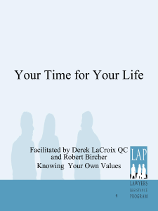 Your Time for Your Life, Knowing Your Values