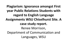 Plagiarism : Ignorance amongst first year Public Relations Students