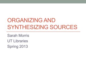 Organizing and Synthesizing Sources