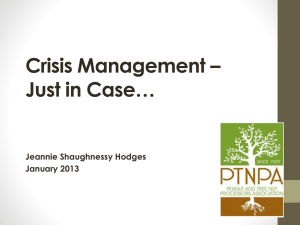 PTNPA Crisis Management Just in Case