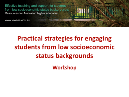 Workshop - Effective teaching and support of students from low