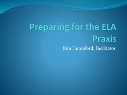 Preparing for the ELA Praxis