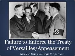 Failure to Enforce the Treaty of Versailles/Appeasement
