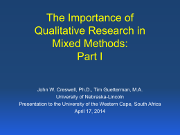 The Importance of Qualitative Research in Mixed Methods
