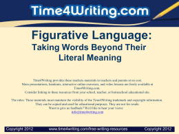 Figurative Language: Taking Words Beyond Their