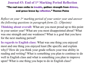 Journal #3: End of 1st Marking Period Reflection