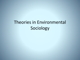 Theories in Environmental Sociology - Environment