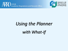 Using the Planner with What-If