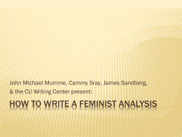 How to Write the Feminist Analysis