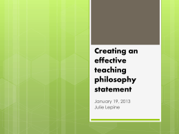 Creating an effective teaching philosophy