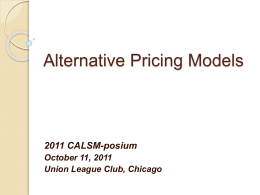 Alternative Pricing Models
