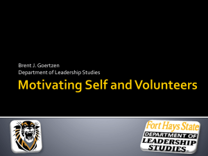 Motivating Self and Volunteers