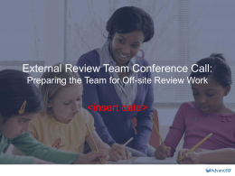 External Review Team Conference Call
