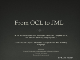 From the OCL to JML - Department of Computer Science