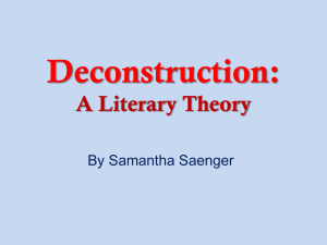 A Brief Background of Deconstruction: A Literary Theory