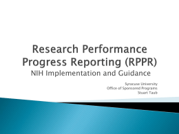 Research Performance Progress Reporting