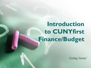 Introduction to the CUNYfirst Finance