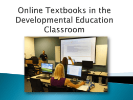 On-Line Textbooks in the Developmental Education Classroom
