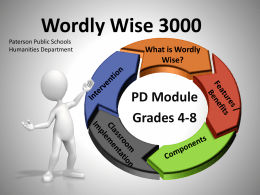 Wordly Wise 3000 - Paterson Public Schools