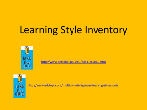 Learning Style Inventory http://www.personal.psu.edu