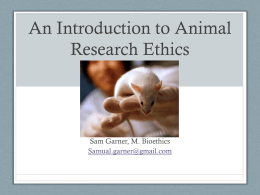 An Introduction to Animal Research Ethics
