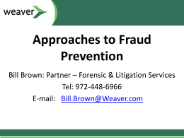 February Event Slides - Fraud Prevention Approaches