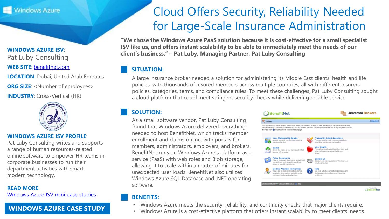 Windows Azure ISV Mini Case Study