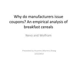 Why do manufacturers issue coupons? An empirical analysis of