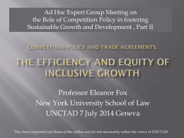 Part I: The Efficiency and Equity of Inclusive Growth , Prof