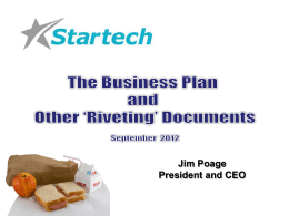 Elevator Pitch, Slide Deck, and Business Plan