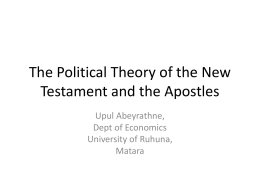 The Political Theory of the New Testament and