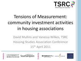 Measuring the impact of community investment activities in housing